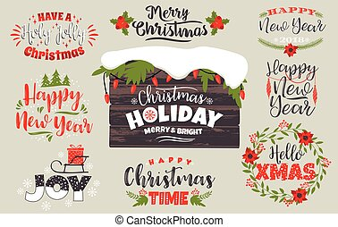 Set of Christmas and Happy New Year lettering designs in traditional colors.