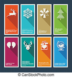 Set of Christmas and New Year greeting cards