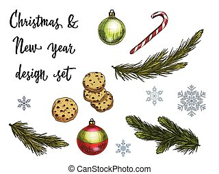 Set of Christmas and New Year decoration and holiday elements. Vector illustration.