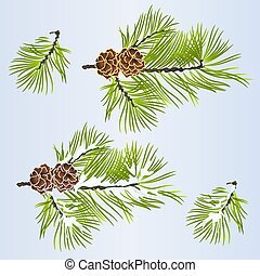 Set of Christmas and New Year decoration with golden pine...