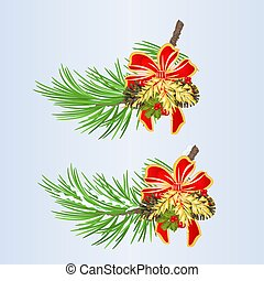 Set of Christmas and New Year decoration with ribbon and...