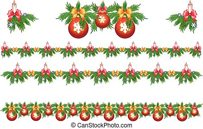 Set of Christmas and New Year decorations. Fir branches decorated with candles, ribbons and Christmas decorations.