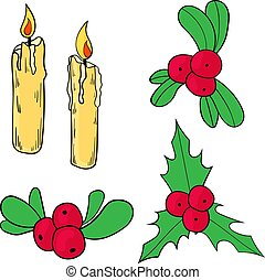 Set of Christmas and New Year elements. Vector illustration.