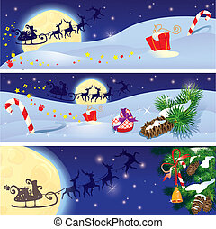 Set of Christmas and New Year horizontal banners with flying reindeers on sky background with fir tree branches and presents.