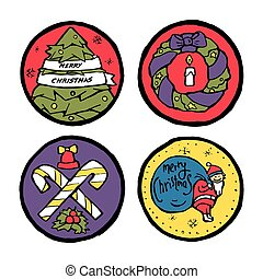 Set of Christmas and New Year round emblems
