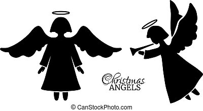 Set of Christmas angels silhouettes. Elements for your design.