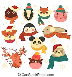 Set of Christmas animals isolated on a white background. Vector graphics.