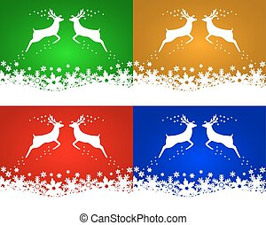 Set of Christmas backgrounds with reindeers