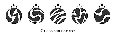 Set of Christmas ball simple icons in black