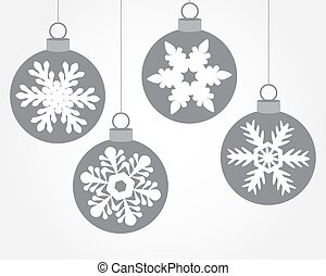 Set of Christmas balls decorated with snowflakes