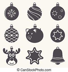 Set of Christmas balls icons