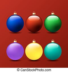 Set of Christmas balls on a red background.