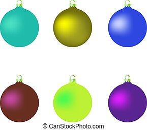 Set of Christmas balls on a white background