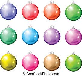 Set of Christmas balls on a white background.