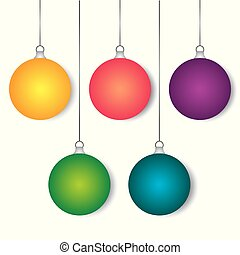 Set of christmas balls on a white background. Vector illustration