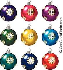 Set of Christmas balls on white background, vector illustration