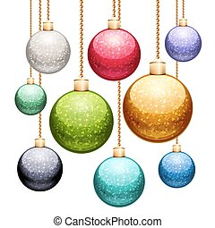 Set of Christmas Balls with Glitter