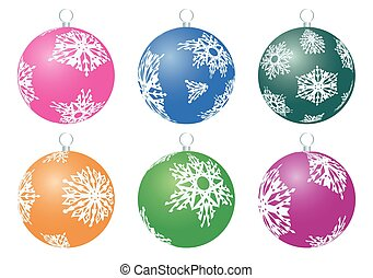 Set of Christmas balls with white snowflakes