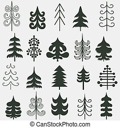 Set of christmas black trees isolated on white background.