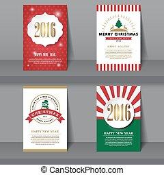 Set of  Christmas brochures in vintage style