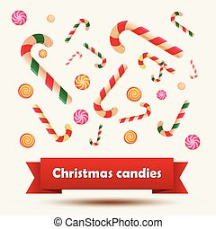 Set of Christmas candy stickers on the white background. Vector illustration