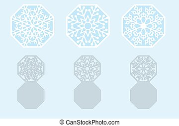 set of Christmas cards snowflakes for laser cutting. vector illustration.