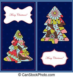 Set of christmas cards with trees