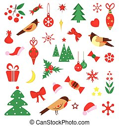 Set of Christmas characters and icons. Kids in festive costumes