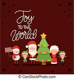 set of christmas characters and joy the world lettering on red background