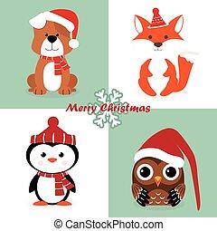 set of christmas characters