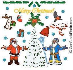 Set of Christmas characters Santa Claus and his little helpers, winter tree and floral decorations. Vector illustration