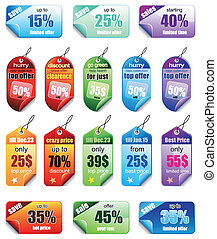 Set of Christmas Colorful Promotional sales price labels -...