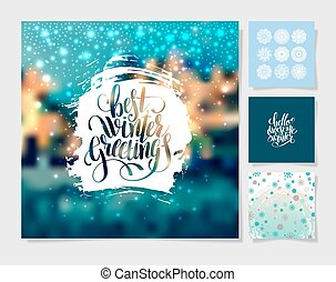 set of christmas decoration background, snowflake and handwritte