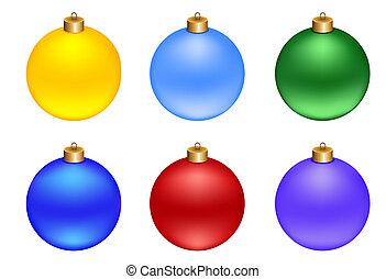 set of Christmas decorations balls, isolated on white