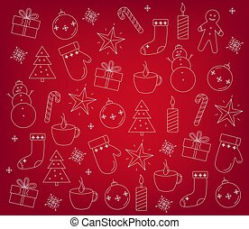 Set of christmas decorations outlines