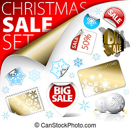 Set of Christmas discount tickets, labels, stamps