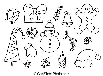 Set of Christmas Doodle, Christmas design element in doodle style. Vector hand drawn cartoon