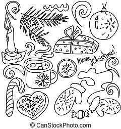 Set of Christmas doodle elements, hand draw vector illustration, X-mas cute drawings