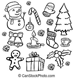 Set of Christmas Doodle-Vector Hand drawn