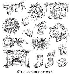 Set of Christmas Elements - for design and scrapbook - in ...