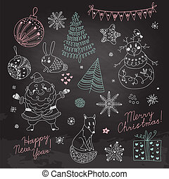 Set of Christmas elements for design