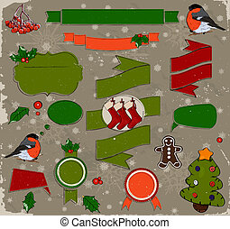 Set of Christmas elements in red and green.