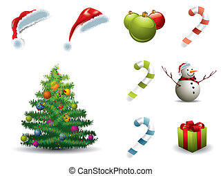 Set of Christmas elements isolated