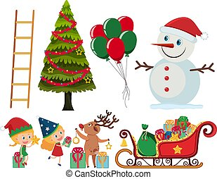 Set of christmas elements on white background