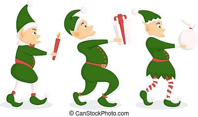 Set of christmas elf character with bag in a flat design