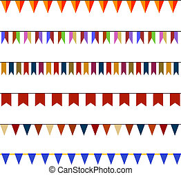 Set of Christmas festive flags on ropes