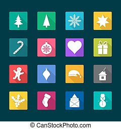Set of Christmas flat icons, vector illustration