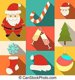 Set of Christmas flat icons