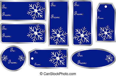Set of Christmas Gift Tags in Blue