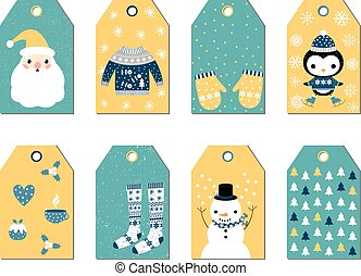 Set of Christmas gift tags with Santa, penguin, snowman, sweater, stockings, mittens